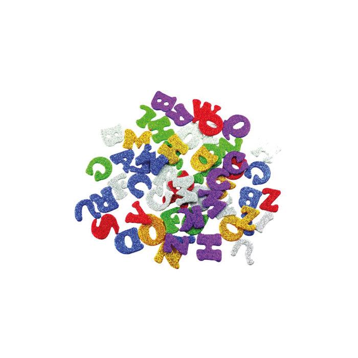 Figuras goma eva con purpurina 1.8mm 78 unid letras