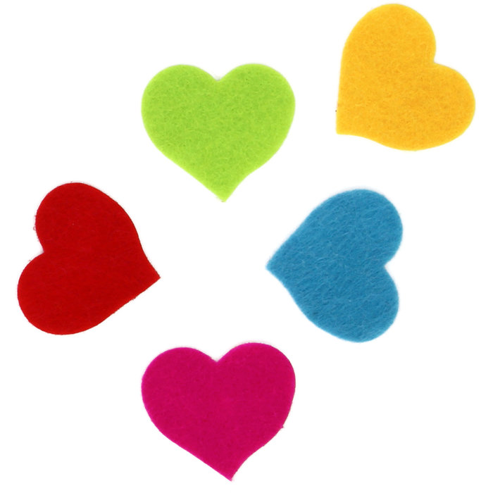 Figuras fieltro adhesivas 2mm 30 unid corazones