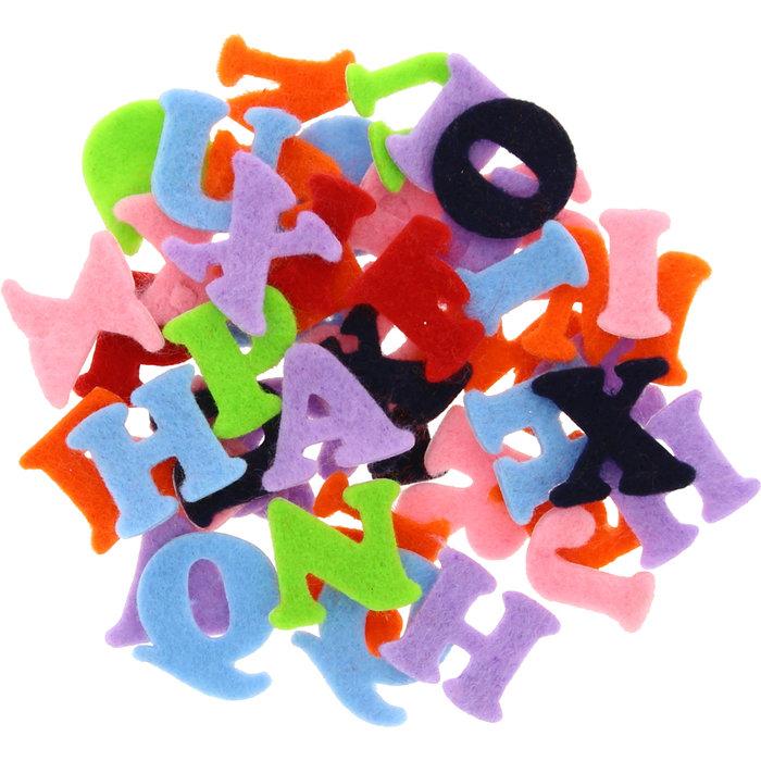 Figuras fieltro adhesivas 2mm 100 unid letras