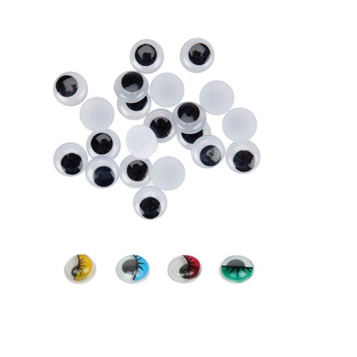 Ojos redondos adhesivos 6 mm 90 unid negro