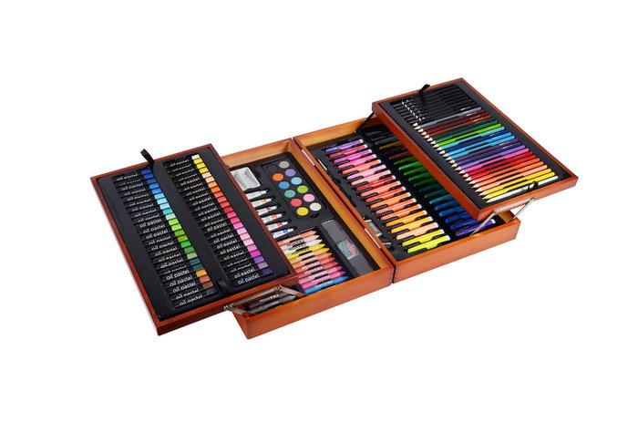 Set bellas artes 197 piezas maletin abatible madera