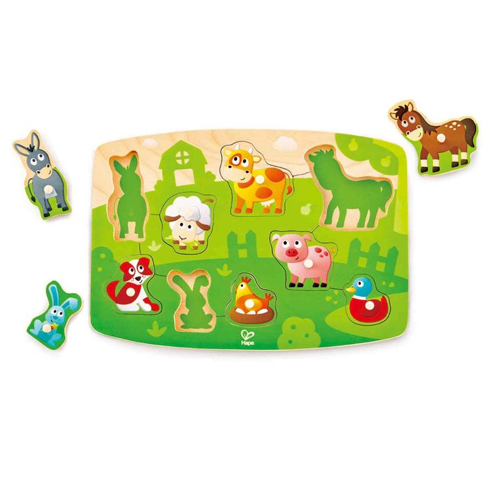 Juego hape puzzle de la granja con pinzas