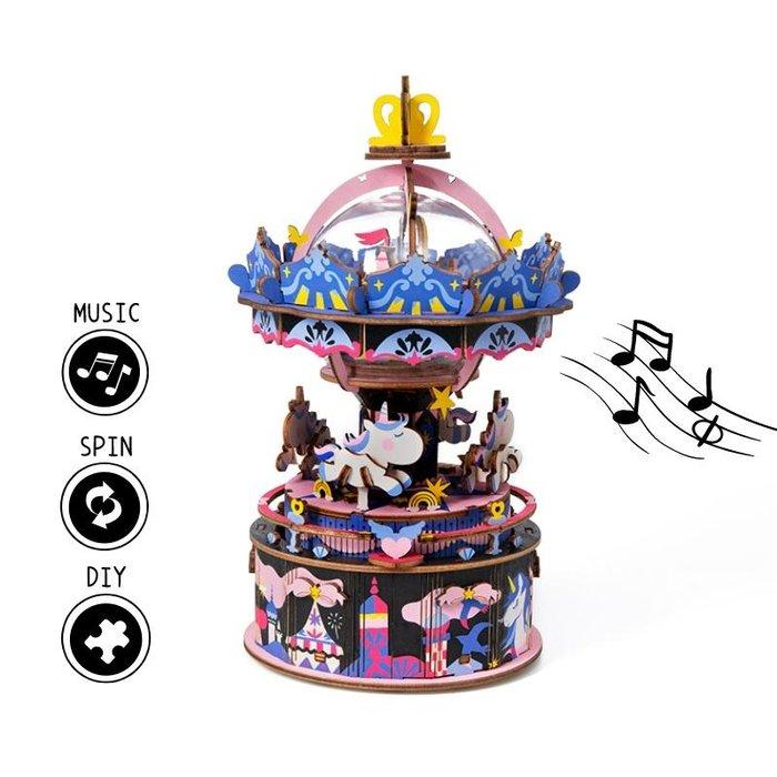 Maqueta caja de musica tiovivo unicornios