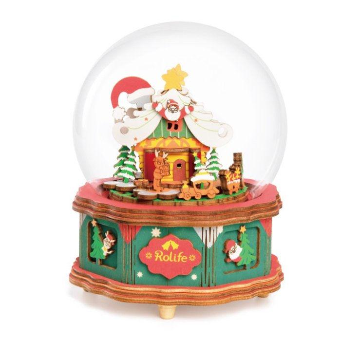 Maqueta caja de musica casita navidad