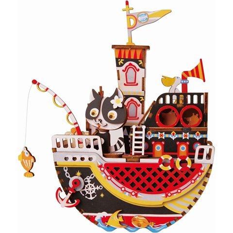 Maqueta caja de musica gato barco