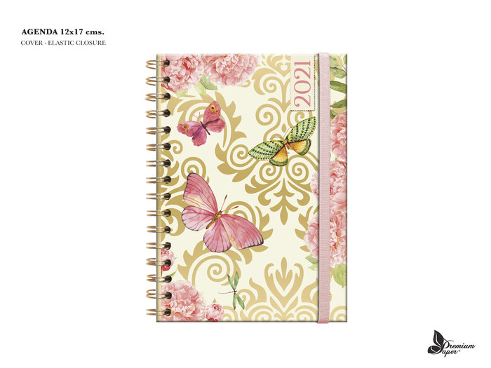Agenda anual 2021 a6 d p butterfly dorado rosa
