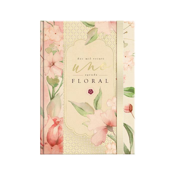 Agenda anual 2021 a6 d p floral rosa