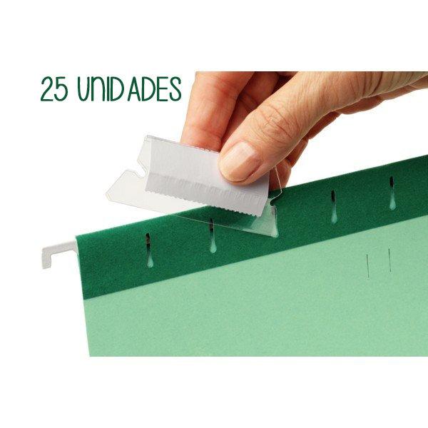 Bolsa 25 visor con etiquetas para carpetas colgantes