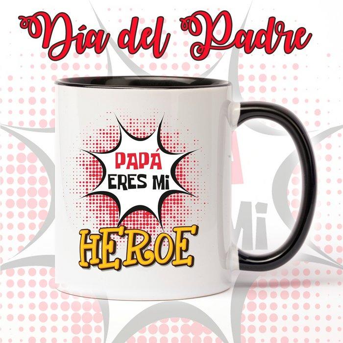 Taza de ceramica del dia del padre mi heroe