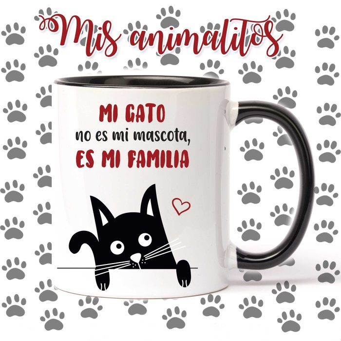 Taza con frases para amantes de las mascotas mi gato