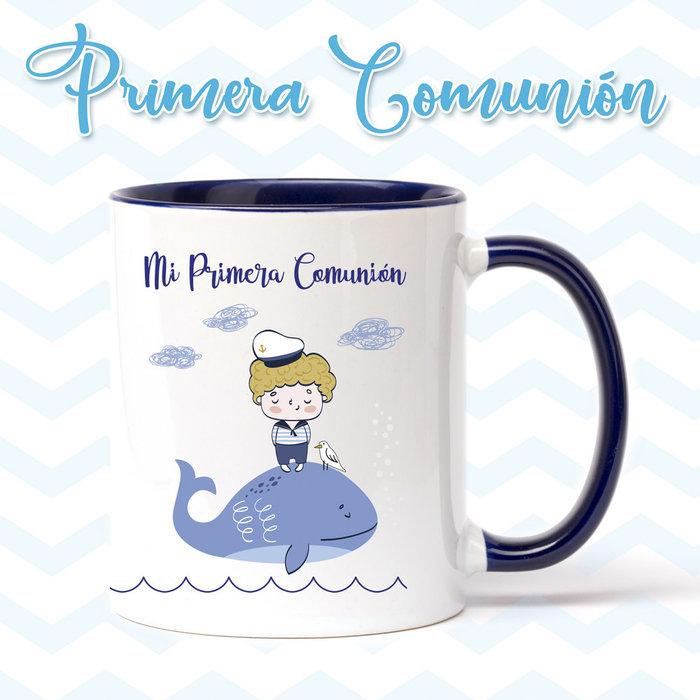 Taza de primera comunion niÑo ballena