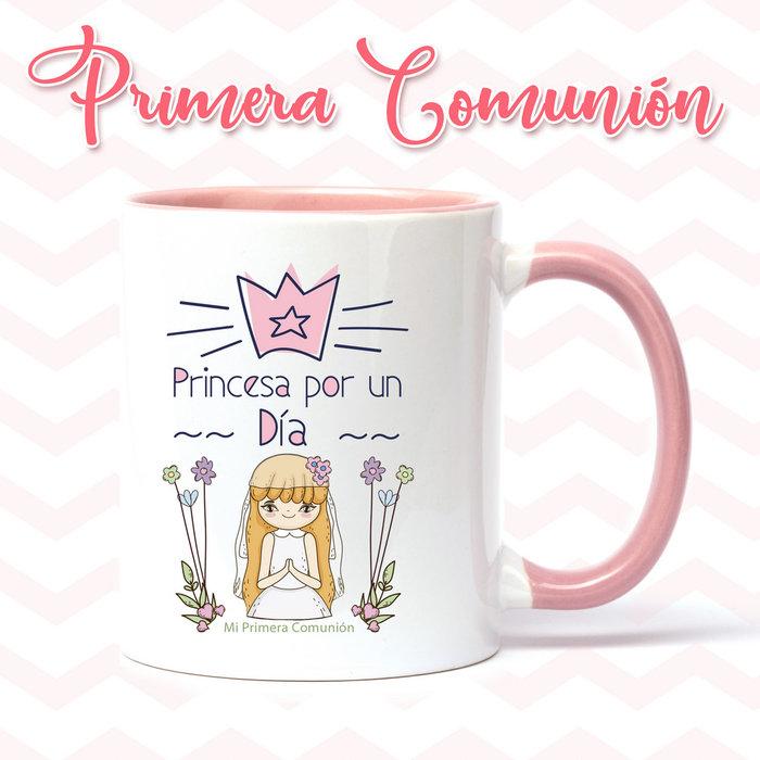 Taza de primera comunion niÑa princesa