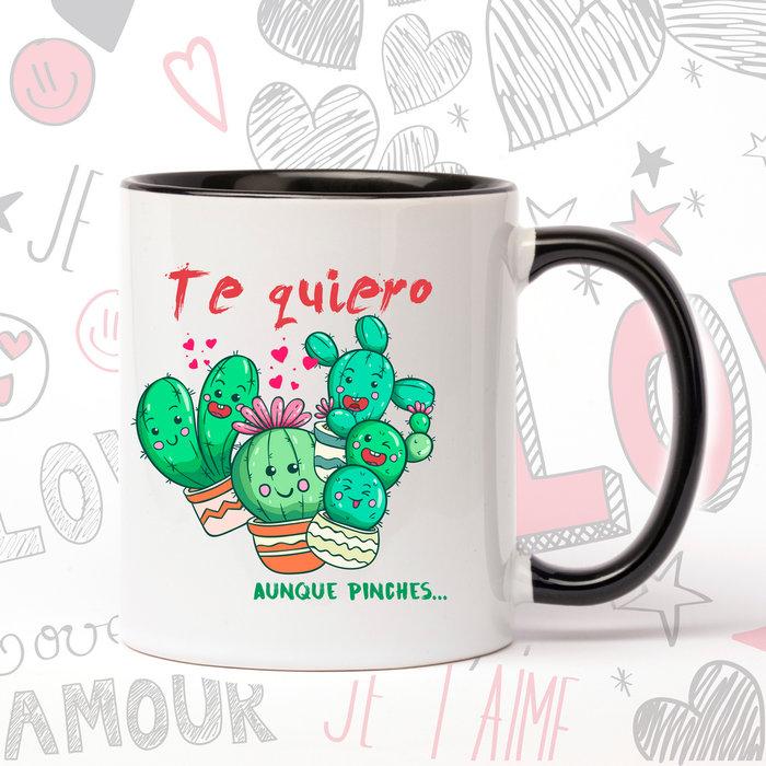 Taza de ceramica enamorados pinchas cactus