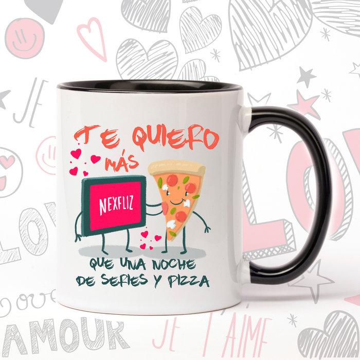 Taza de ceramica enamorados pizza