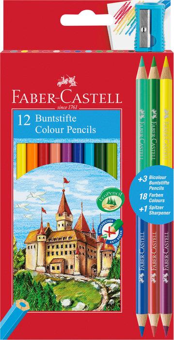 Lapiz color hexagonal estuche de 12 + 3 lapices bicolor grat