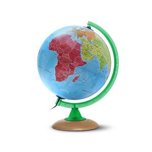Esfera 25cm con luz continenti plus verde base de madera