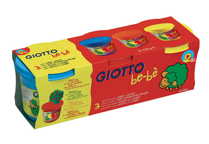 Giotto bebe super pasta para jugar 220 gr estuche 3 ud