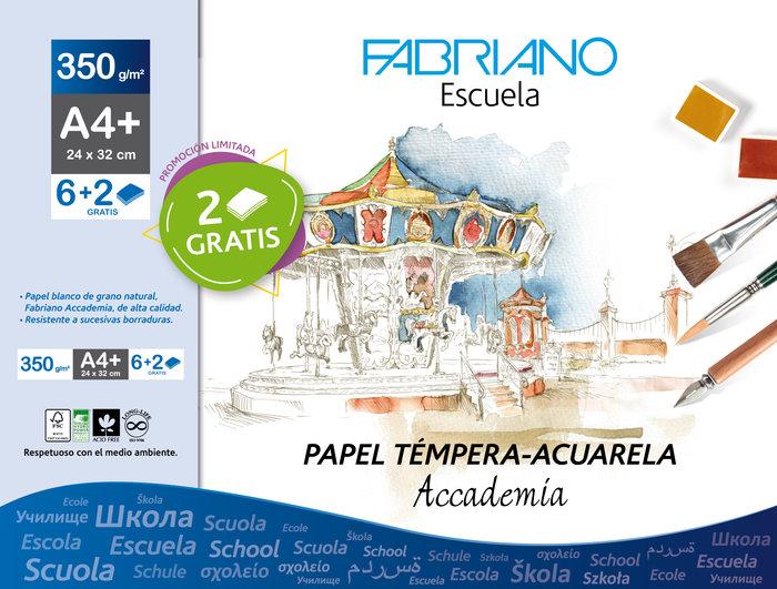 Sobre papel tempera acuarela a4+ 350 g/m² 6h+2 gratis blanco