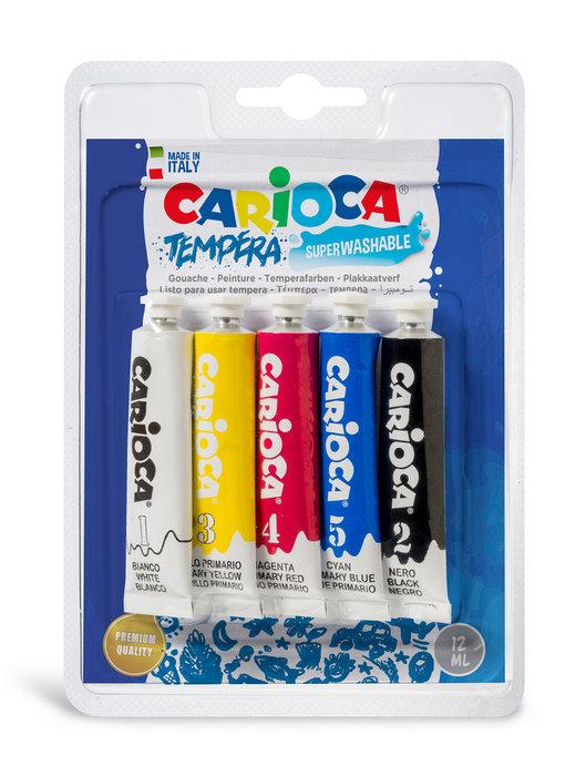 Tempera carioca tubo 12 ml blister 5 colores surtidos