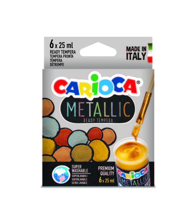 Tempera carioca metallic 25 ml 6 colores surtidos