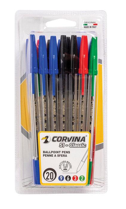 Boligrafos corvina 51 classic blister 20 uds colores surtido