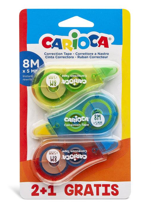 Cinta correctora carioca 8m blister 3 uds