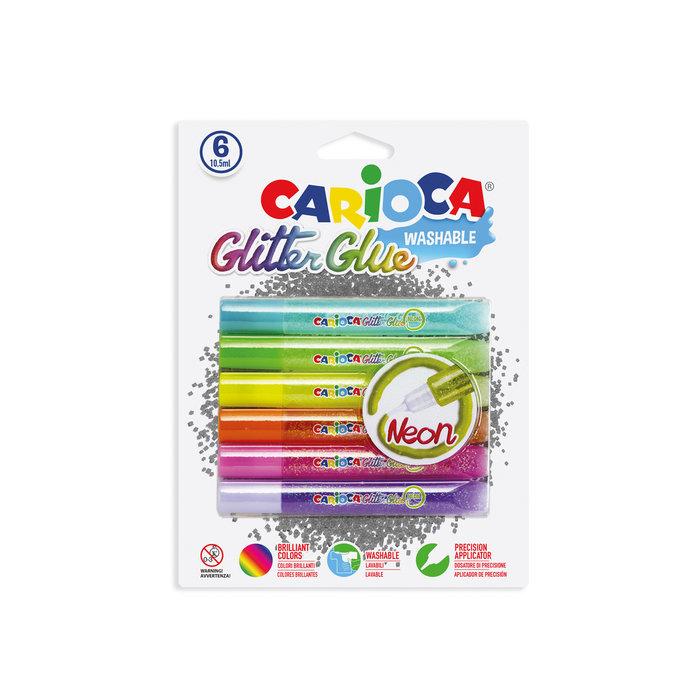 Pegamento glitter glue neon 10,5 ml. blister 6 uds