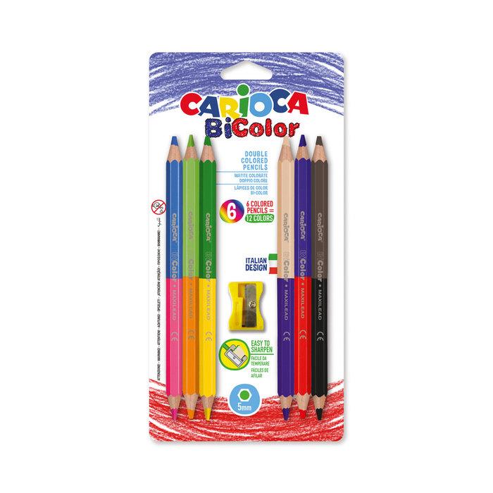 Lapiz carioca bi-color maxi blister 6 colores surtidos