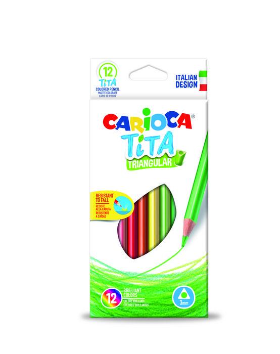 Lapiz triangular carioca tita 12 colores surtidos