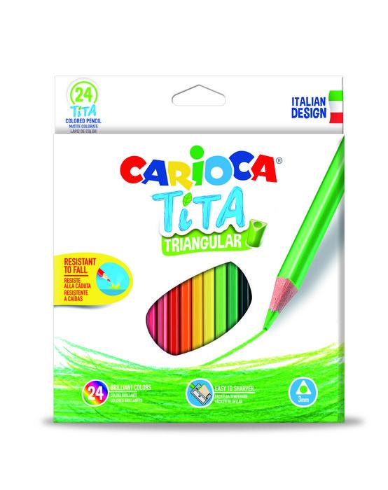 Lapiz triangular carioca tita 24 colores surtidos