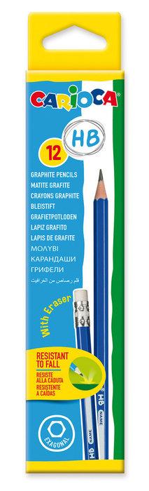 Lapices grafito hb con goma caja 12 uds