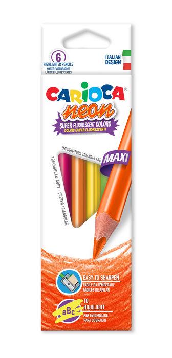 Lapiz triangular carioca neon 6 colores surtidos
