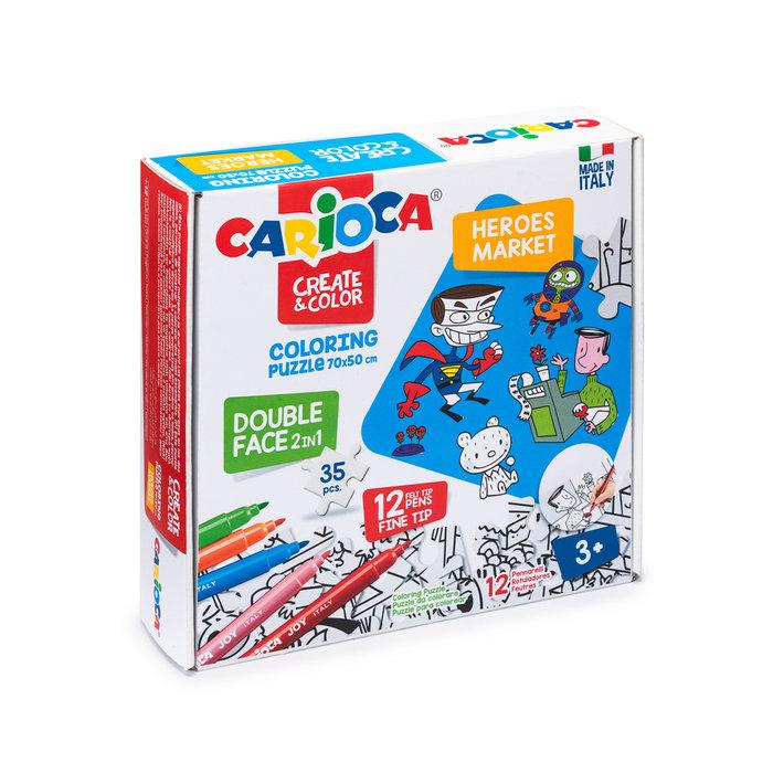 Carioca create & color puzzle super heroes & market