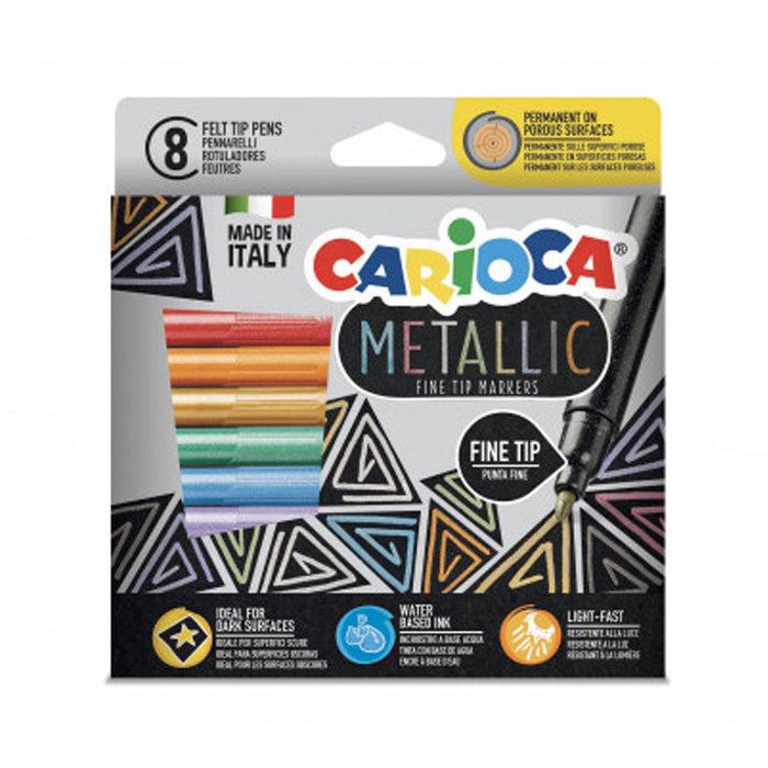 Rotulador carioca metallic punta fina 8 colores