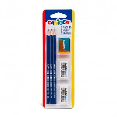 Lapiz grafito carioca hb blister 3 uds + 2 gomas