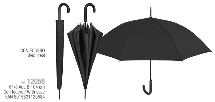 Paraguas hombre 61/8 automatcio negro con funda