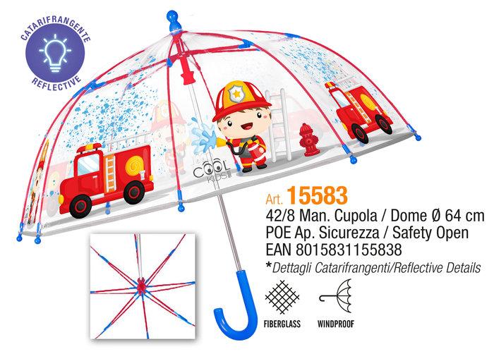 Paraguas infantil 42/8 manual cupula transparente bomberos