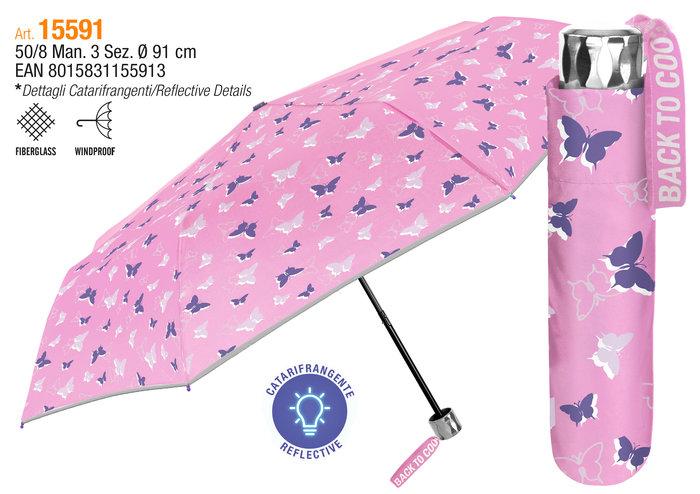 Paraguas infantil plegable 50/8 manual mariposas