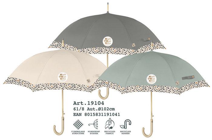 Paraguas mujer 61/8 automatico liso con borde material recic