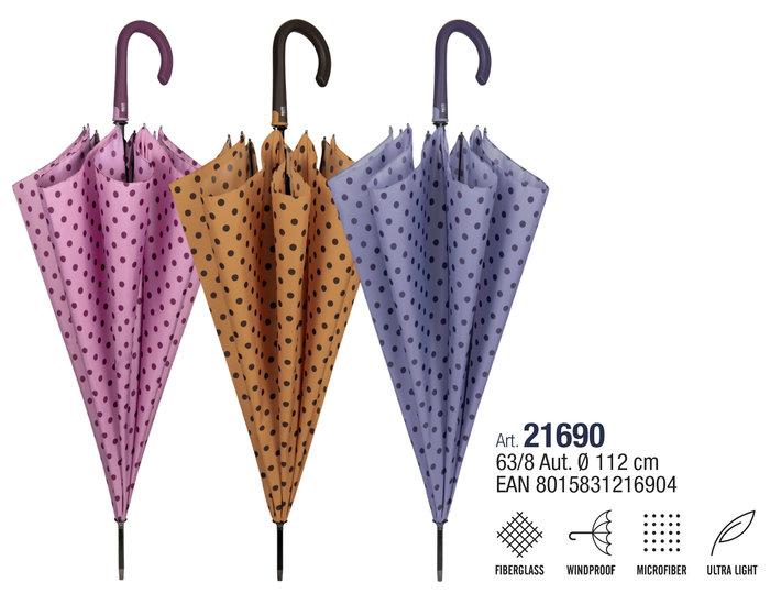 Paraguas mujer 63/8 automatico ligero con topos
