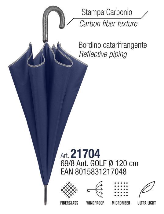 Paraguas hombre golf 69/8 automatico ligero  azul borde refl