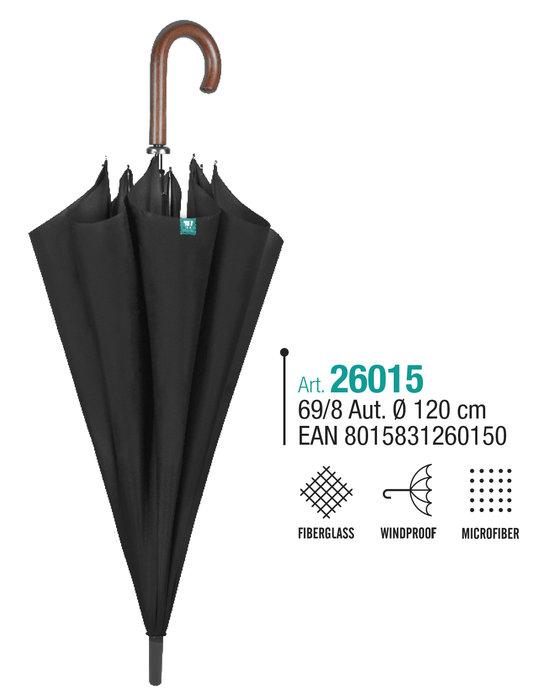 Paraguas hombre golf 69/8 automatico negro con mango madera
