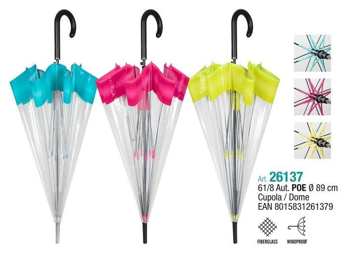Paraguas mujer 61/8 automatico.transparente con borde color