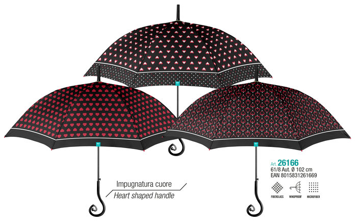Paraguas mujer 61/8 automatico negro-rojo con mango corazon