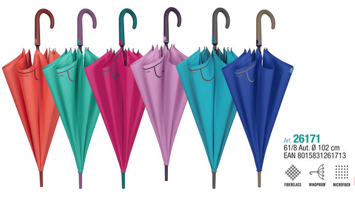 Paraguas mujer 61/8 automatico. colores lisos surtidos