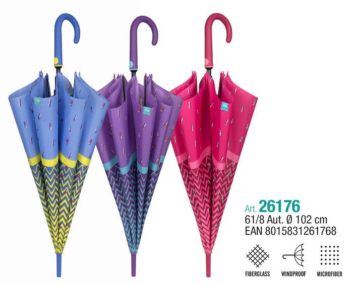 Paraguas mujer 61/8 automatico borde con letras