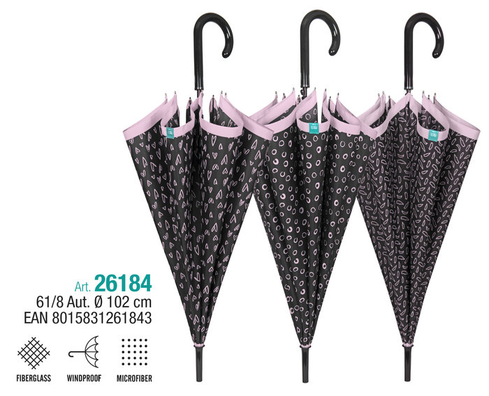 Paraguas mujer 61/8 automatico negro con borde rosa