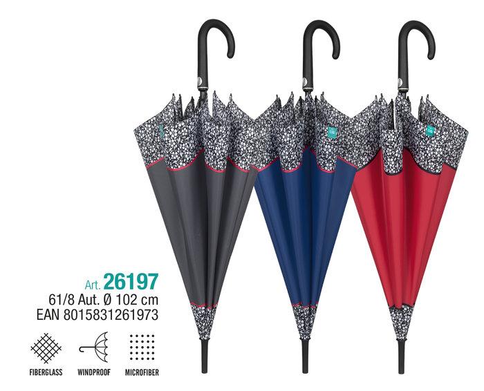 Paraguas mujer 61/8 automatico con borde de flores