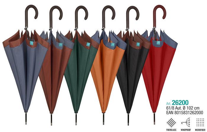 Paraguas mujer 61/8 automatico  liso con borde de color