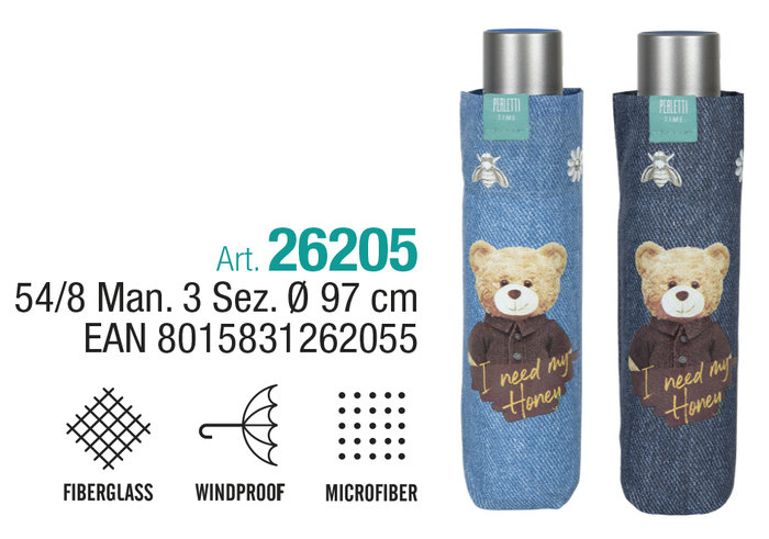 Paraguas mujer plegable 54/8 manual azul con oso